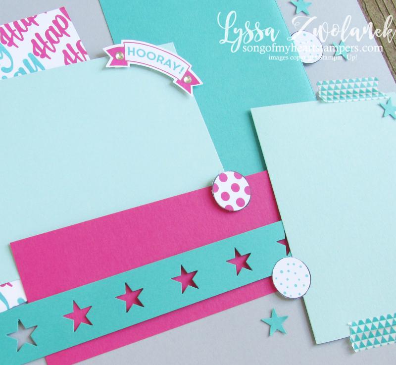 Birthday hooray pages days 31 stampin up scrapbooking challenge Lyssa shop