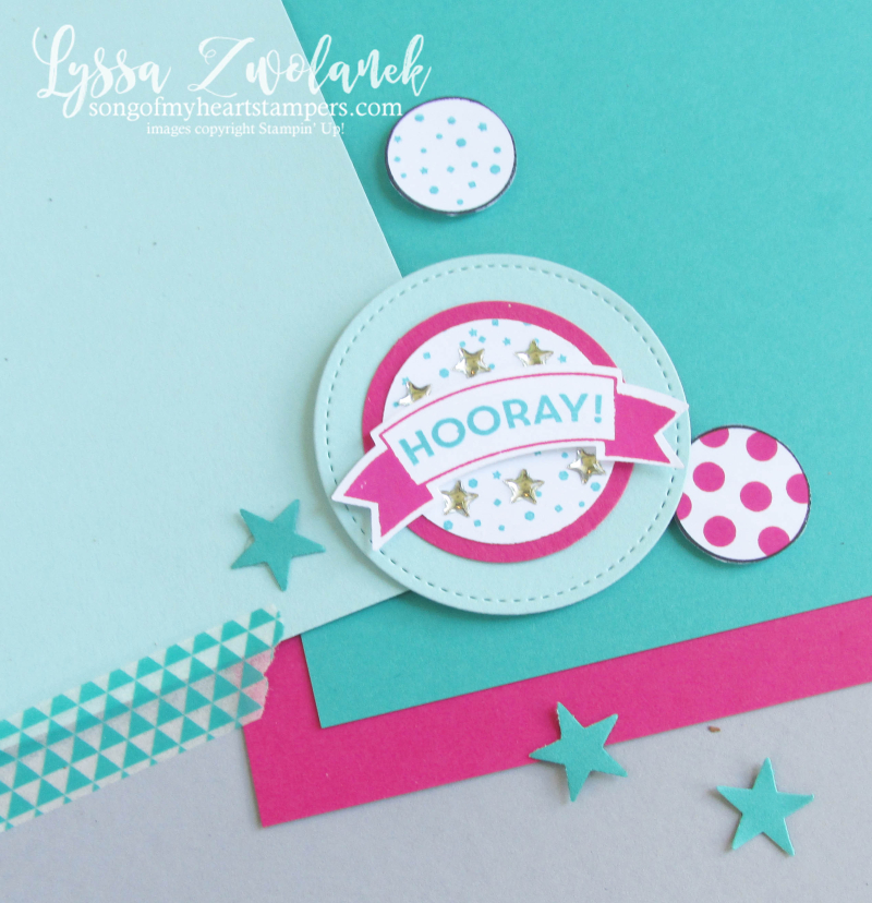 Birthday hooray pages days 31 stampin up scrapbooking challenge Lyssa layout shop