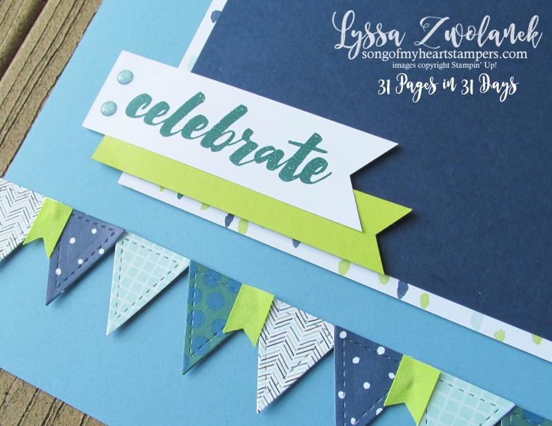 Quilt Builder Dies Stampin Up scrapbooking layouts Lyssa traditional scrapbook celebrate
