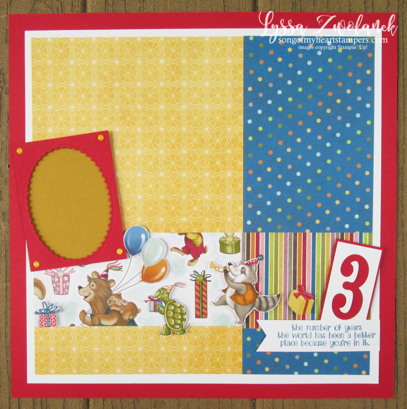 Birthday Memories party animals Richard Scary scrapbook pages days layout children 31 stampin up