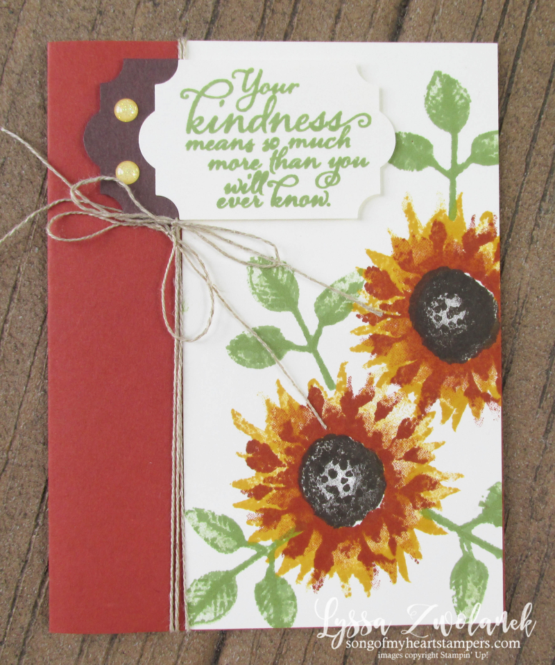 Painted Harvest Class Month Stampin Up Lyssa acorns cajun craze sunflowers leaf punch