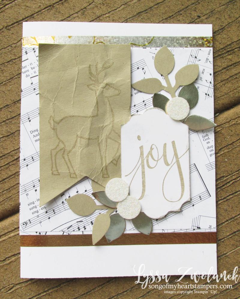 Santa sleigh Watercolor Christmas Year of Cheer foil metallic holiday cardmaking Leaf Punch