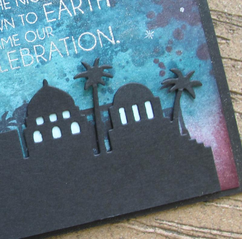 Night Bethlehem Stampin Up framelits thinlets Song Music Christmas holiday card Lyssa
