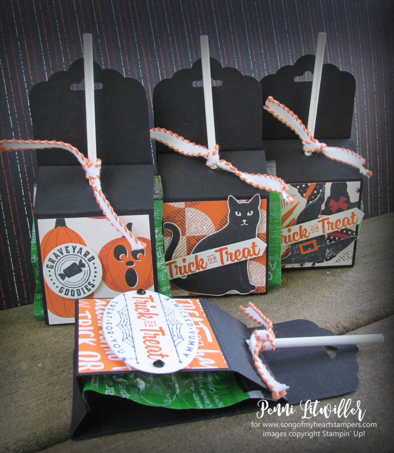 Halloween treat sucker holder candy quick ideas stamping lollipop classroom Penni Lyssa Stampin Up