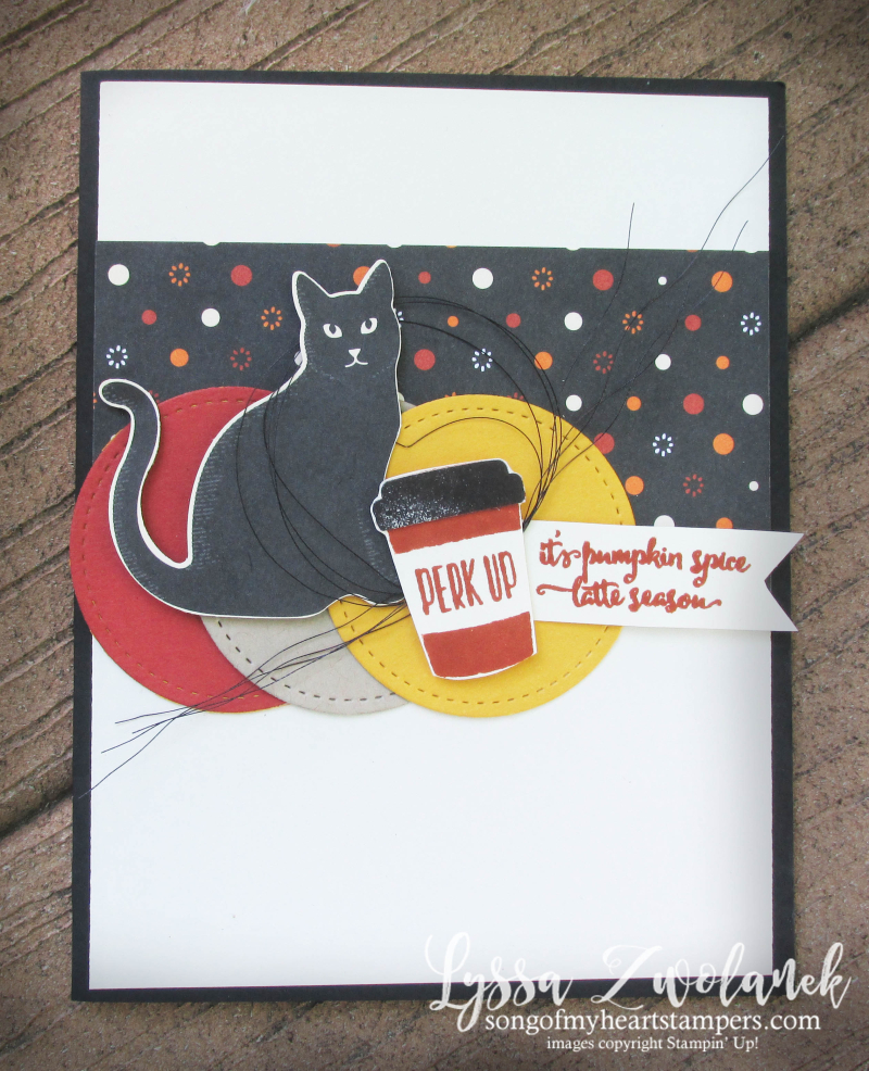 Halloween pumpkin spice everything latte coffee gift card holder Stampin Up Merry Cafe Lyssa