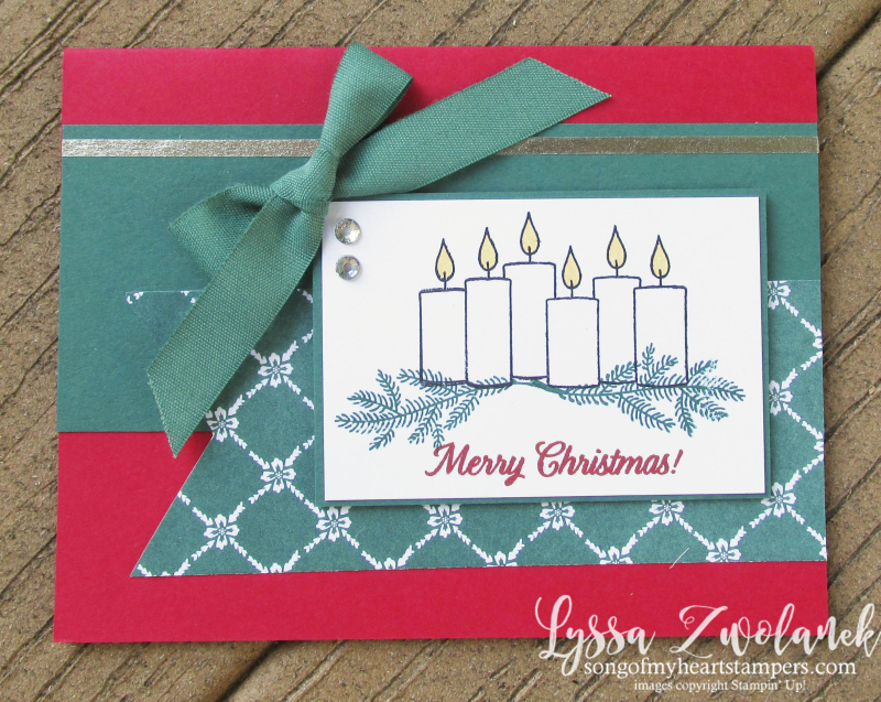 Merry Patterns Christmas stamp set Tranquil Tide free stampin up hostess Lyssa holiday card