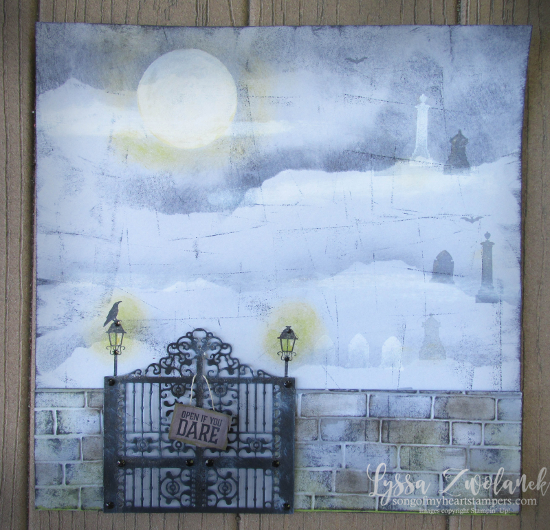 Detailed Gate graveyard thinlets Stampin Up halloween scrapbooking page spooky night fog victorian gravestones