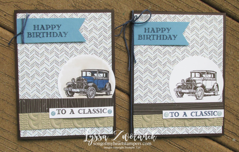 Antique car guy greetings masculine cards truck Stampin Up blends