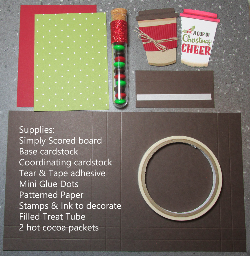 Double cocoa packet treat tube holder hot chocolate Christmas gift Stampin Up Merry Cafe Coffee stamps 10