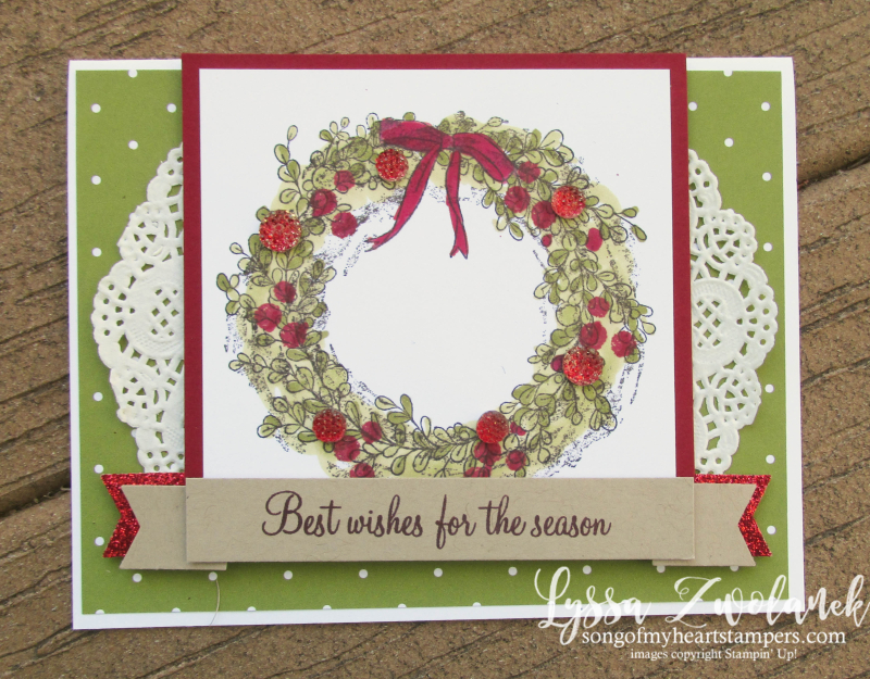 Christmas Feeling Air wreath holiday Stampin Up shop Lyssa tutorials cardmaking rubber stamp berries holly