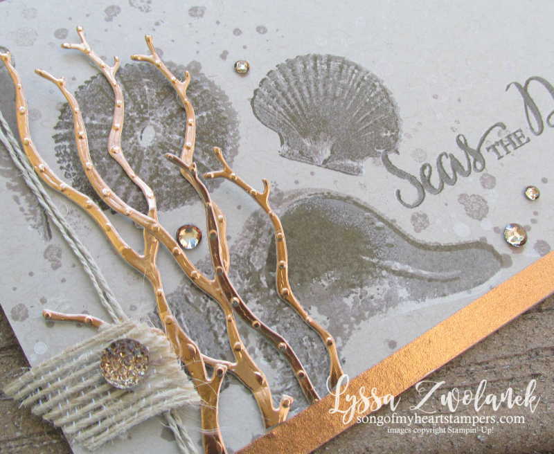 So Many Sea Shells shell beach wave sand shore Stampin Up rubber stamps shop Lyssa sea weed branches coral