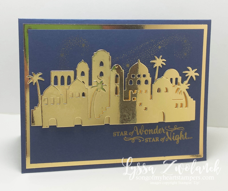 Bethlehem Edgelits thinlets night skyline stars Stampin Up christmas gold foil stamps Shop Lyssa