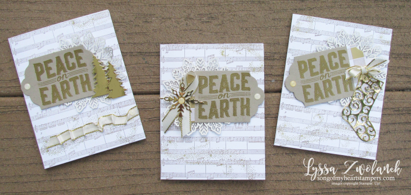 Peace on earth carols Christmas holiday cards deck halls cardmaking sheet music stampin up
