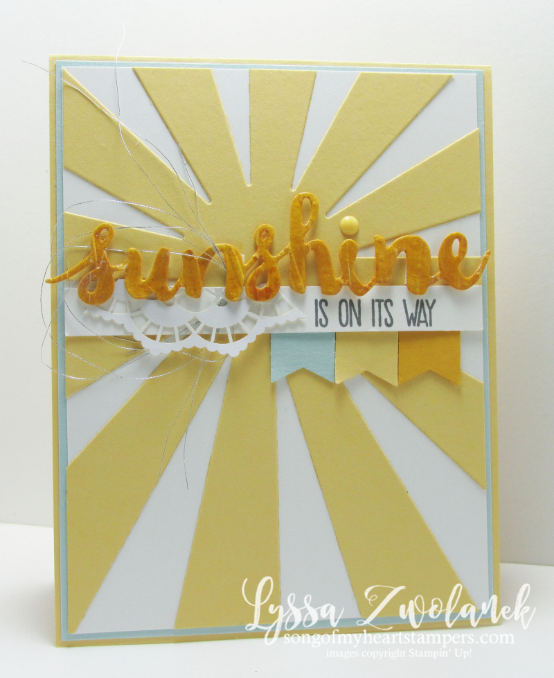 You are my sunshine starburst diecut framelis rays sunny Stampin Up card
