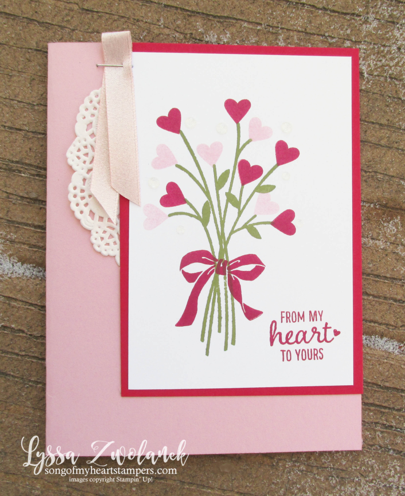 Beautiful Bouquet flower bunch hearts valentine wildflowers Stampin Up Shop Lyssa