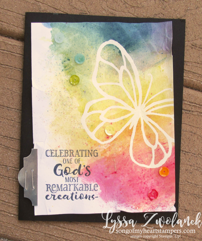 Beautiful Day butterfly brusho crystal color Stampin Up rainbow technique spring catalog rose watercolor