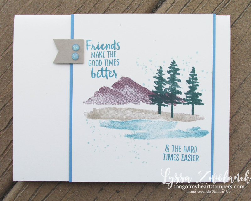 Waterfront stampin up shorleine beach mountains pines watercolor stamp set