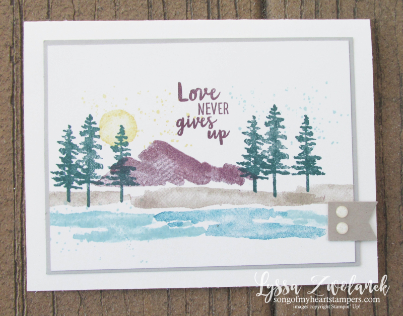 Waterfront stampin up shorleine beach mountains pines watercolor brush stamp set