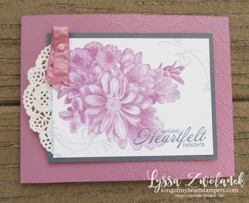 Beautiful Peacock Rose Wonder Heartfelt Thoughts Stampin Up sugarplum sympathy Lyssa card stamps