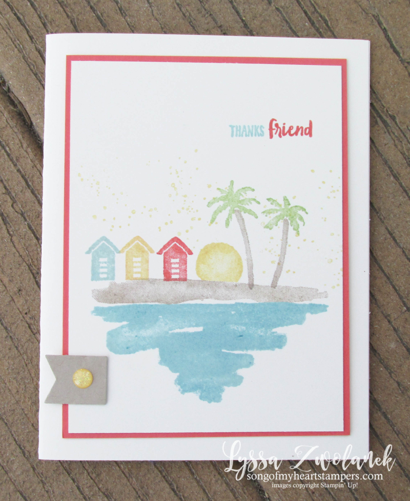 Waterfront stampin up shorleine shore waves beach palms watercolor stamp set