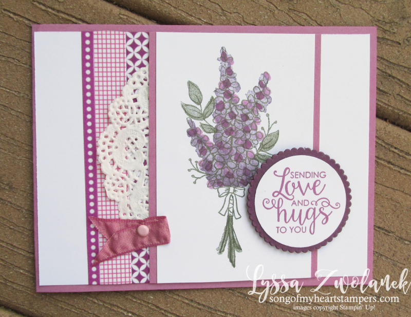 Lots of lavender saleabration stampin up rubber stamps doily stamparatus sweet sugarplum
