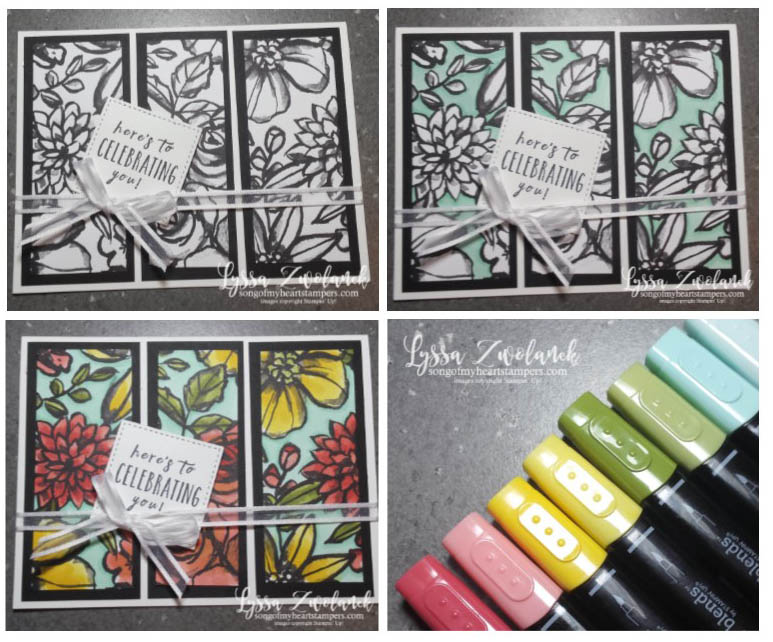Petal Passion stampin blends alcohol markers coloring papers Lyssa techniques