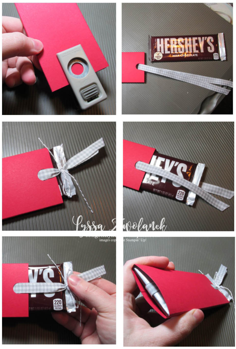 Candy bar slider valentine chocolate treat holder tutorial free Stampin Up
