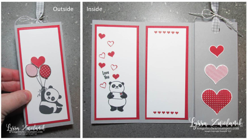Trifold candy bar card treat holder chocolate valentine easter stampin up party pandas