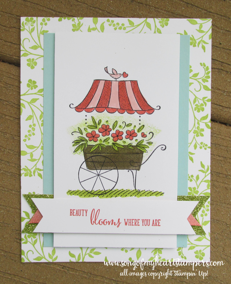 Friendship sweetest thoughts stamp set stampin up fower cart blooms blossom cardmaking layouts