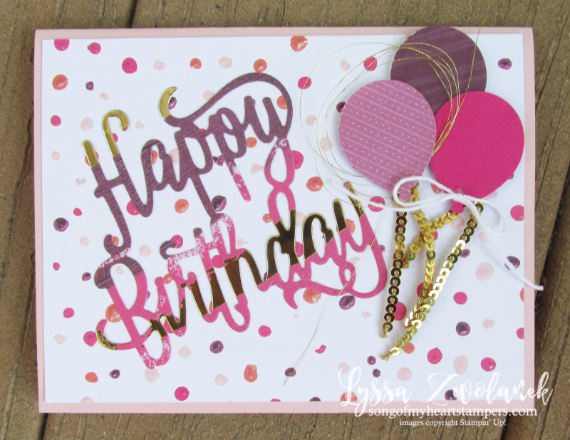 Happy birthday thinlets sizzix stampin up dies big shot balloon cards