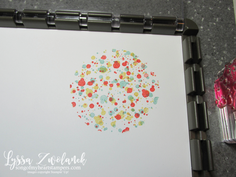 Swirly bird spatter technique circle diecut stencil stamparatus masks stampin up tutorial Lyssa