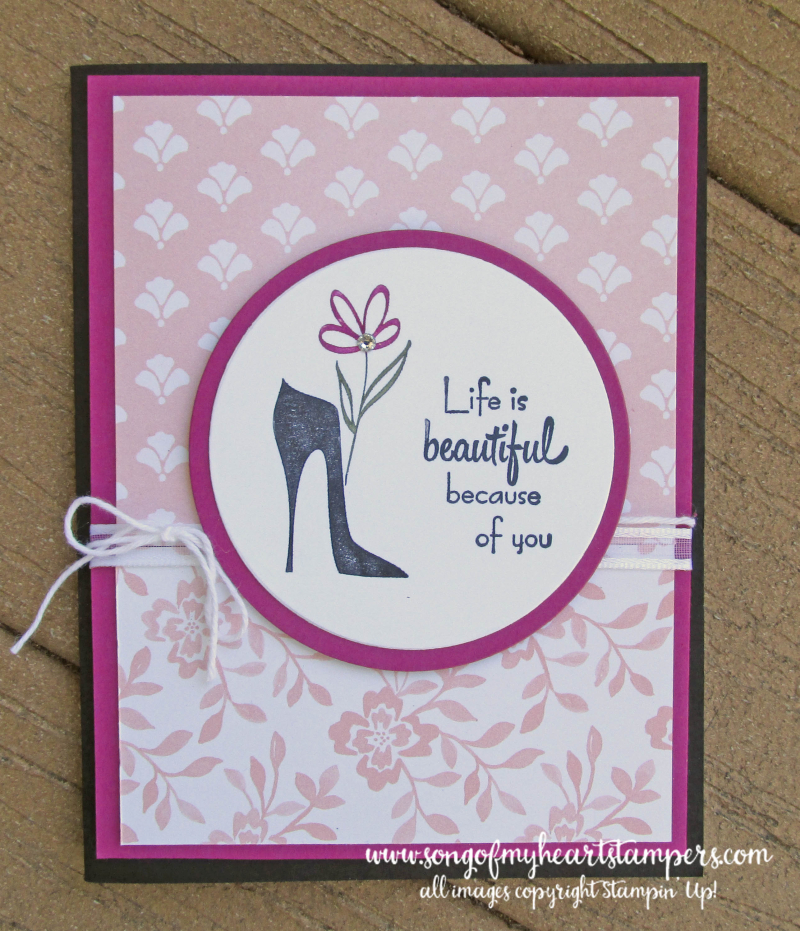 Mothers day card flowers high heels celebrate you gift stamp set rubber Stampin Up