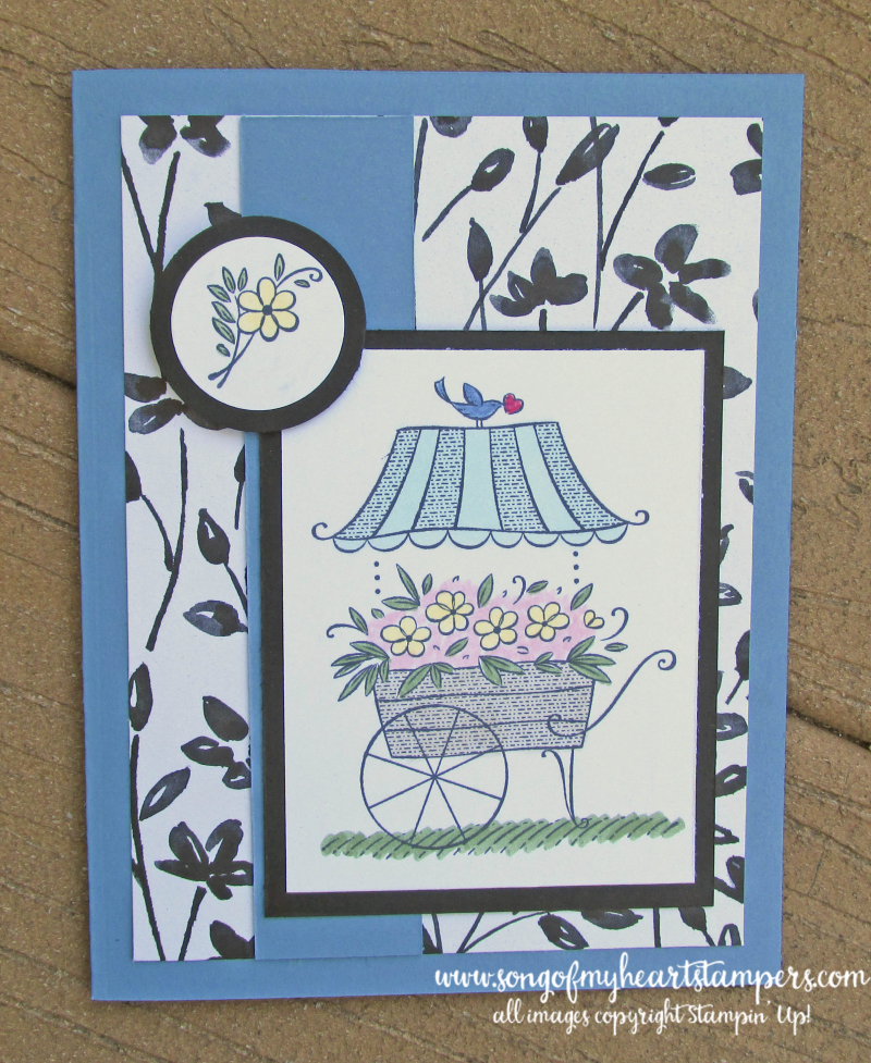 Thoughts of you kind flower cart paris spring flowers mothers day birthday cards Stampin Up