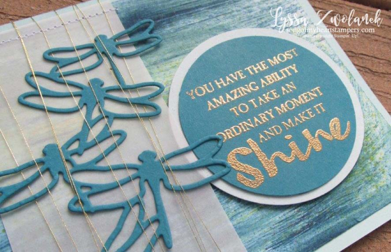 Dragonfly dreams die cut sizzix stampin up brusho background techniques Lyssa