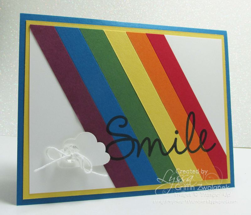 Rainbow Striped Stampin Up Cheat Sheets Card Cloud Punch