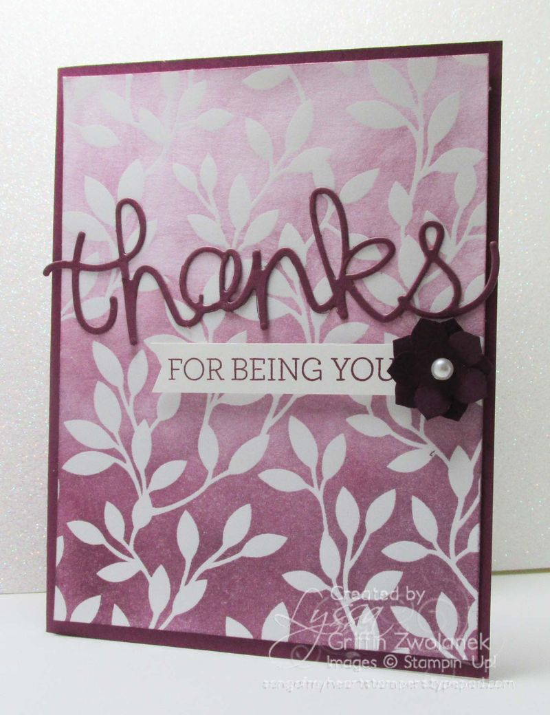 Ombre sponged Iresistibly Yours technique Sale A Bration Stampin Up Thank You Card