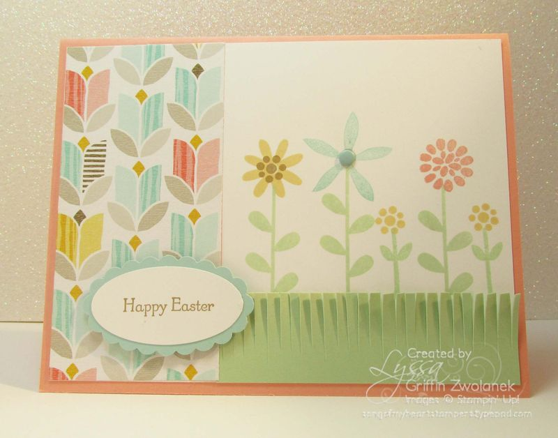 Easter Fringe Grass Flowers Card Stampin Up