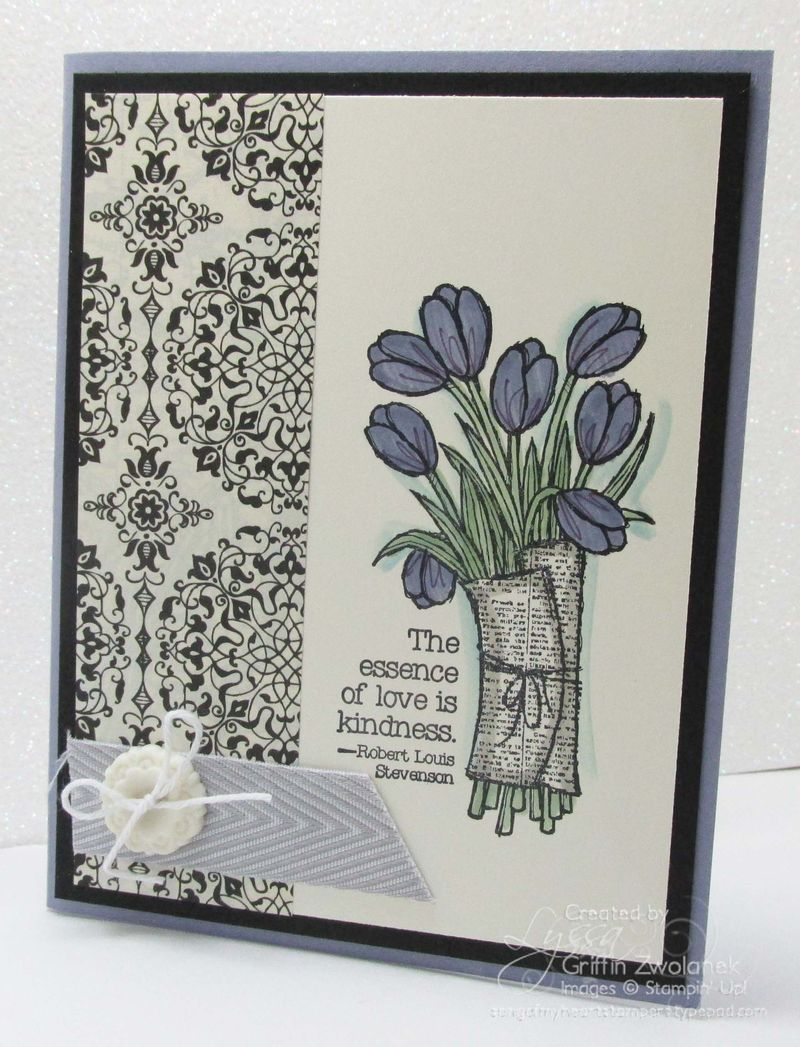 Wisteria and Black antique tulip card