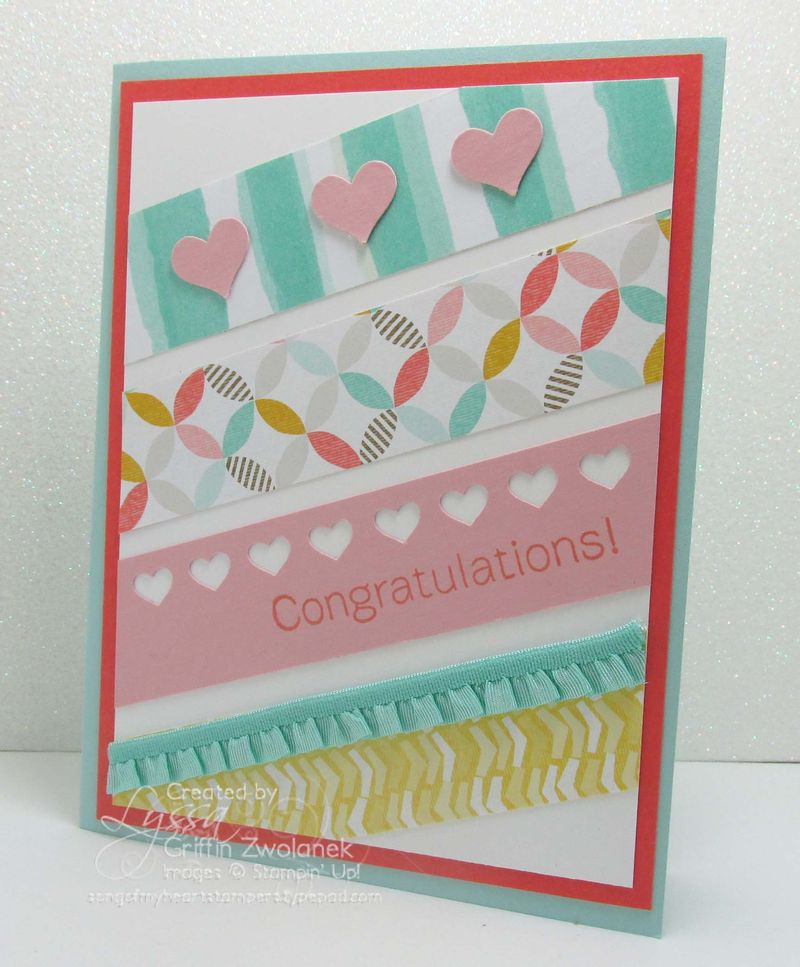 Diagonal Paper Scraps Congrats Card Stampin Up