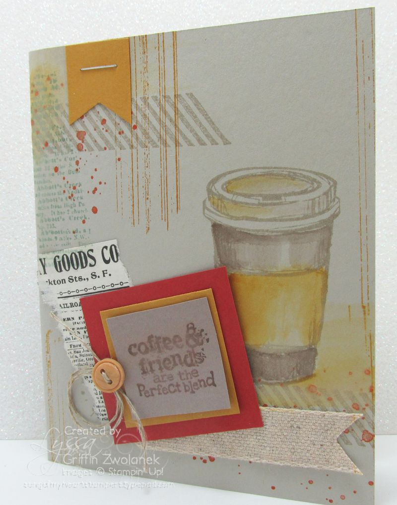 Coffee stained card Stampin Up in colors