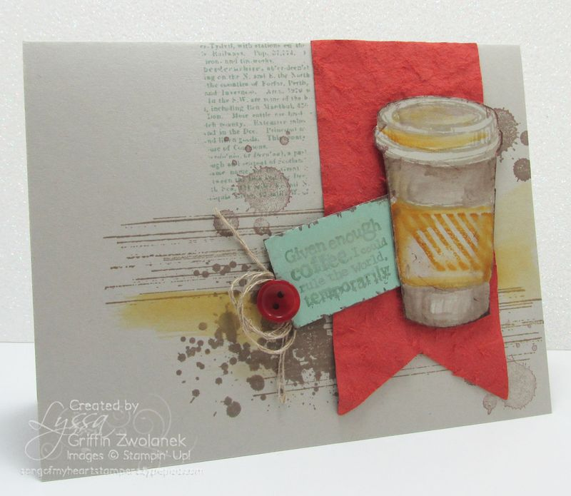 Coffee stained occasions card Stampin Up in colors