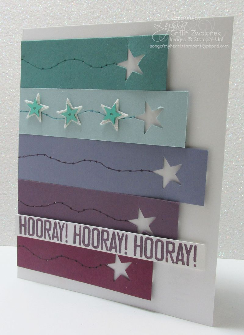 Cheat Sheets Dripping Stars Vertical Birthday Stampin Up card