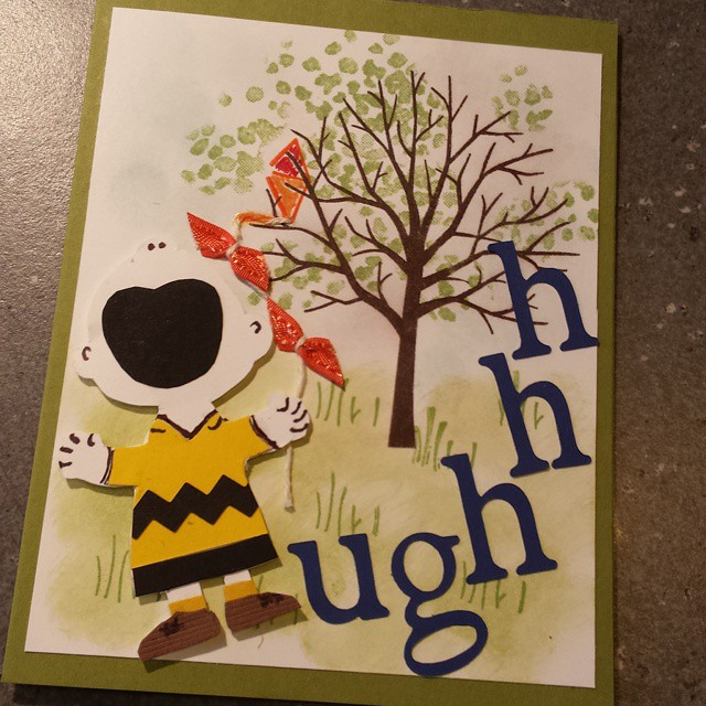 Elaine's Charlie Brown Kite-Eating Tree Card