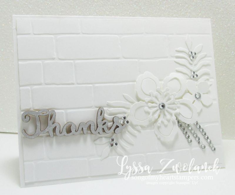 white on white floral look stunner botanical gardens framelits builder Big Shot #stampinup www.songofmyheartstampers.com