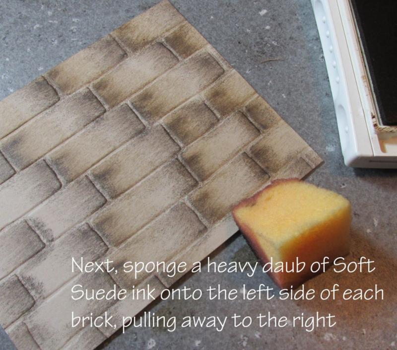 step two birck wall technique basket weave tutorial #stampinup www.songofmyheartstampers.com embossing folder Big Shot
