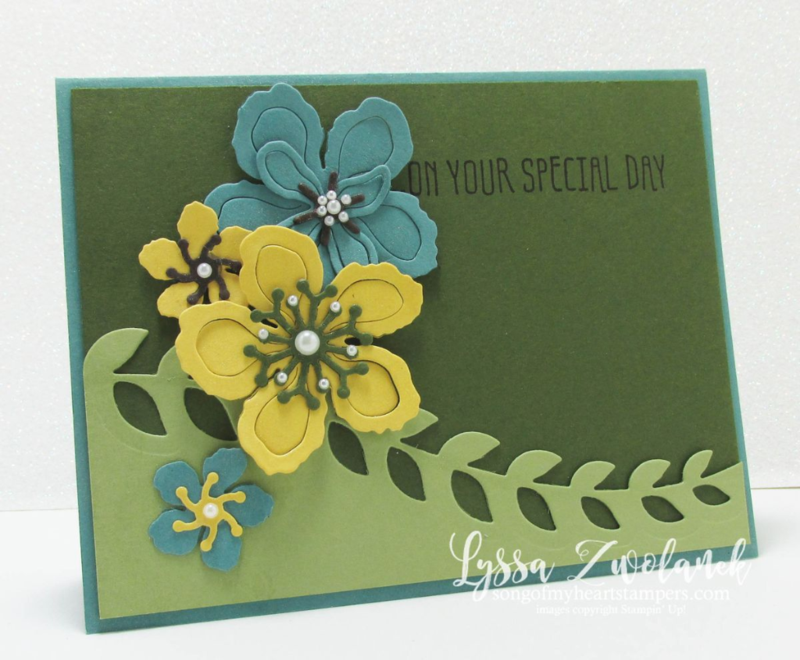Botanical builder card green lost lagoon Pear Pizzazz Daffodil Delight Mellow Moss #stampinup www.songofmyheartstampers.com