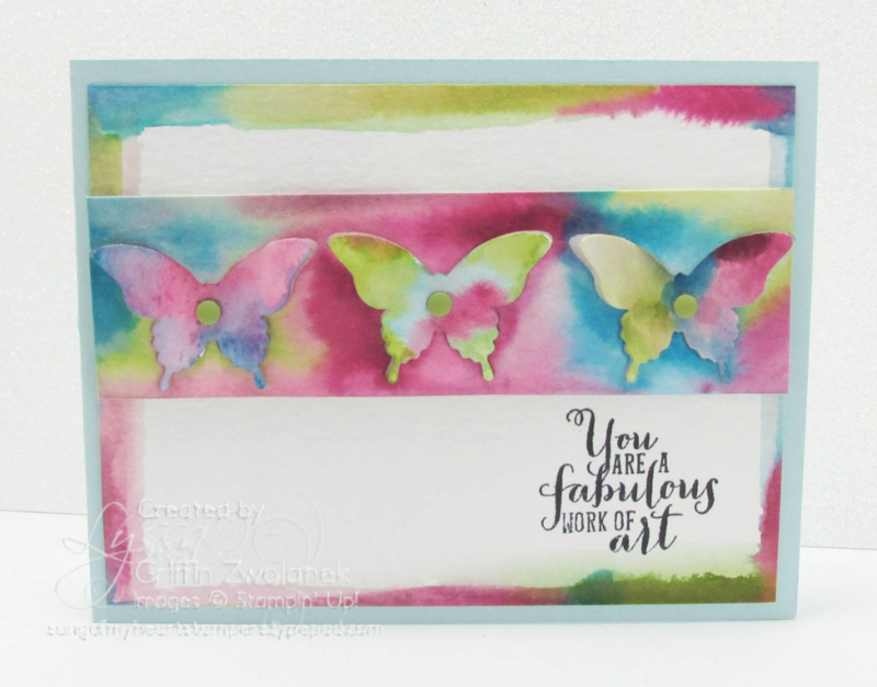 punched watercolor drip technique tutorial Stampin Up #rubberstamping www.songofmyheartstamper.com