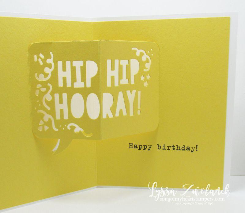 Popup hip hip hooray stampin up birthday card