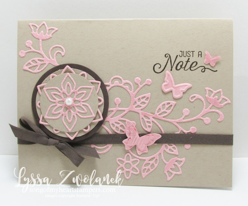 Pink brown flourishing flourish thinlets card stampin up