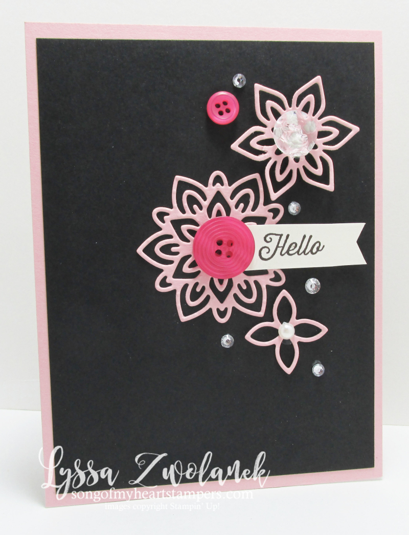 Pink black flourishing flourish thinlets card stampin up